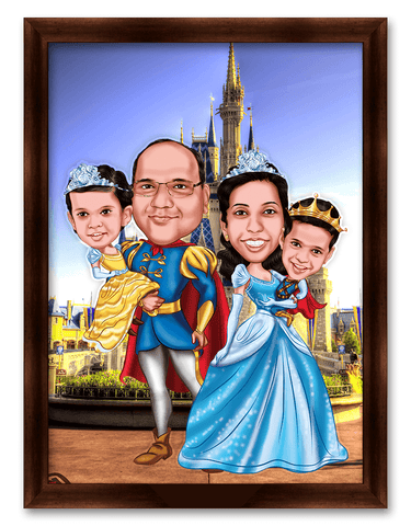 The Magic Castle with the Complete Family Personalized Caricature Gift