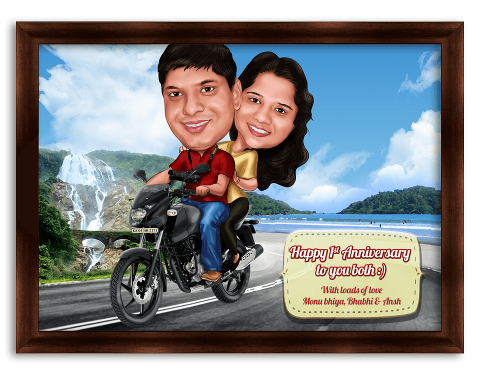 couple on bike happy married life personalized caricature gift