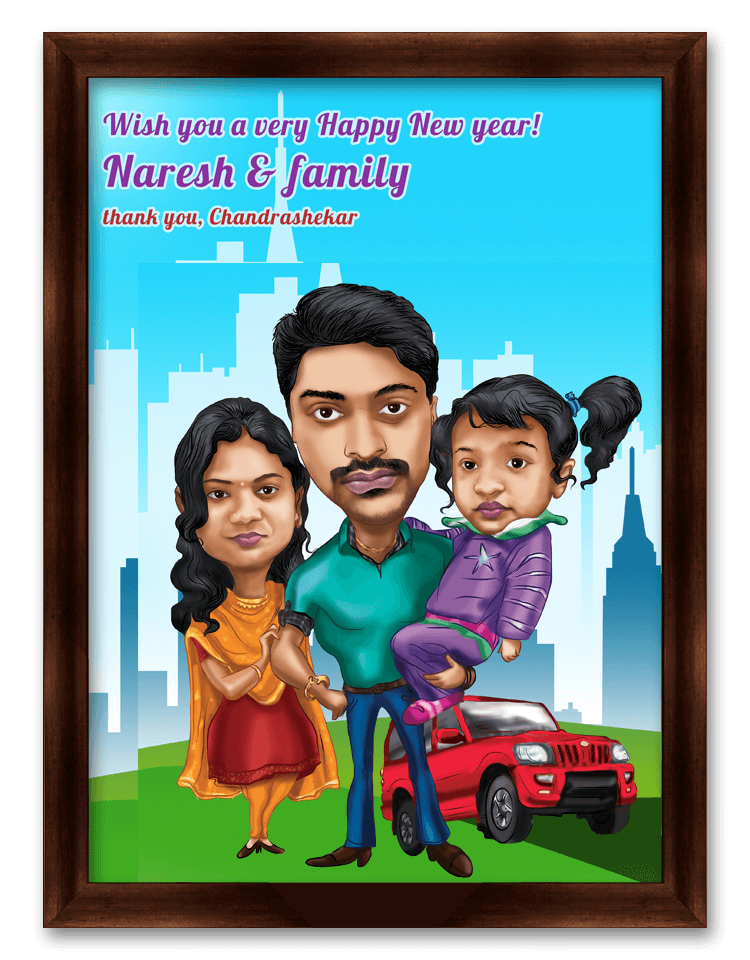 happy new year wishes for family personalized caricature gift