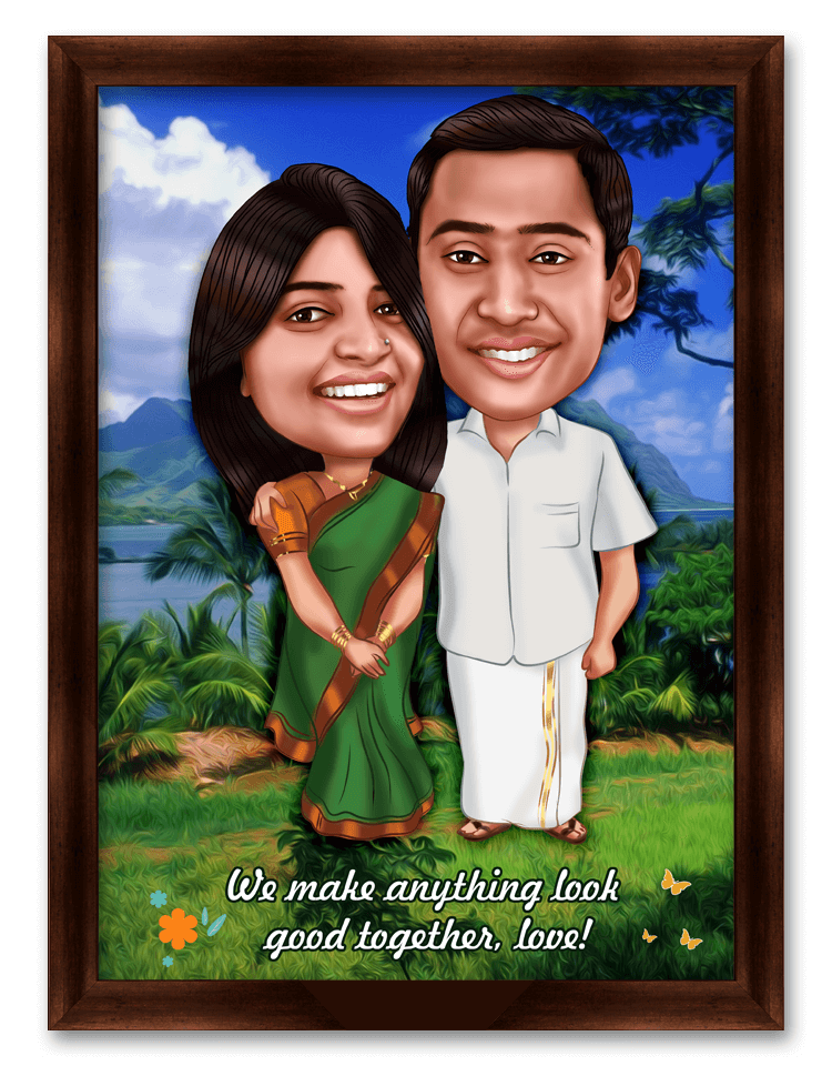 30th wedding anniversary personalized caricature gift for parents