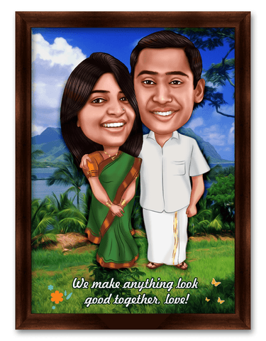 2nd wedding anniversary personalized caricature gift for wife/husband