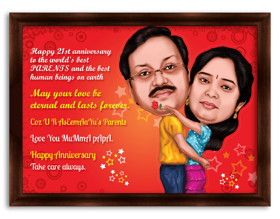 6th Wedding Anniversary Personalized Caricature Gift For Couple