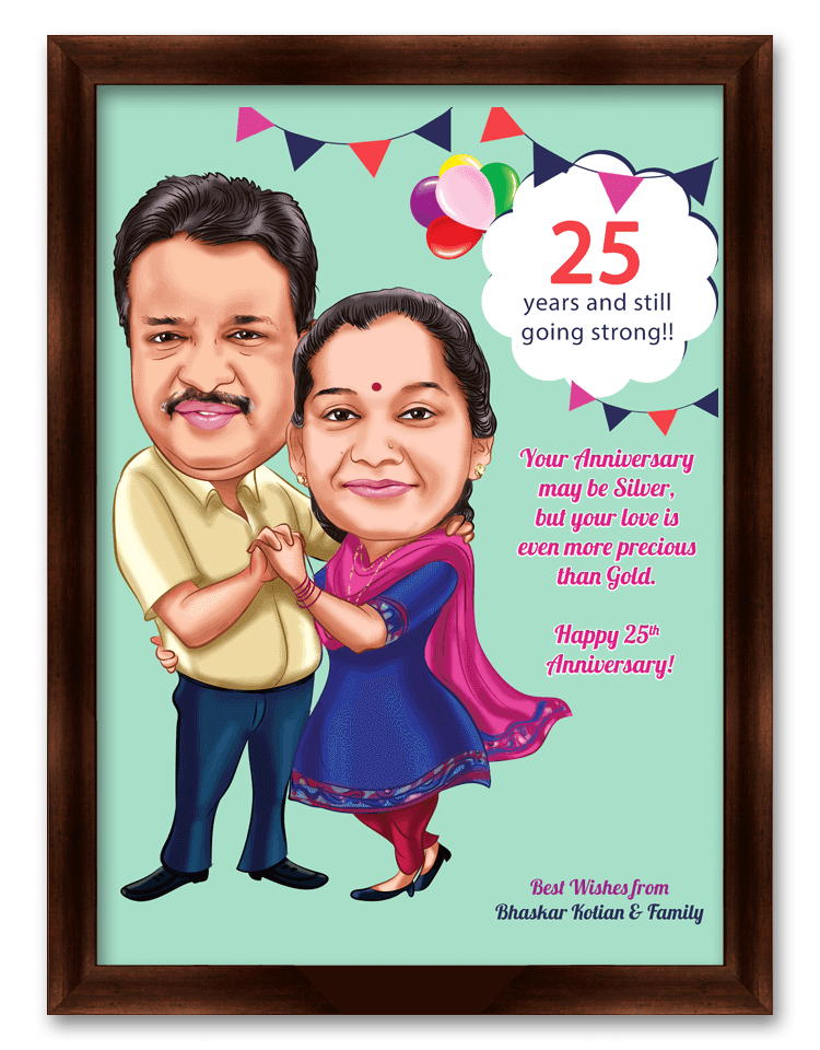 25th Wedding Anniversary Personalized Caricature Gift For Parents