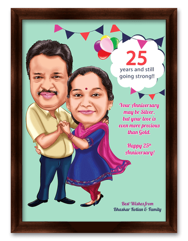 25th wedding anniversary, personalized caricature gift for parents