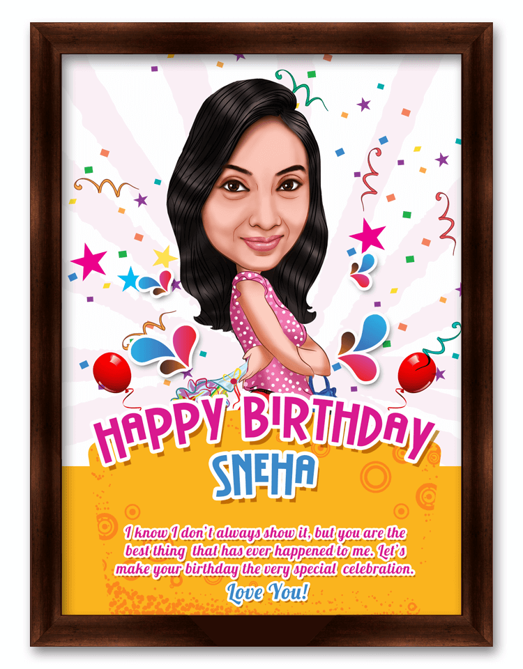 Happy Birthday Dear Love, Personalized Birthday Caricature Gift
