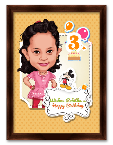 Smart and Cute, Personalized Birthday Caricature for Kid
