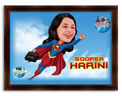 All the best, Super Women Framed Caricature