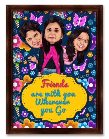 Friends Are With You Framed Caricature