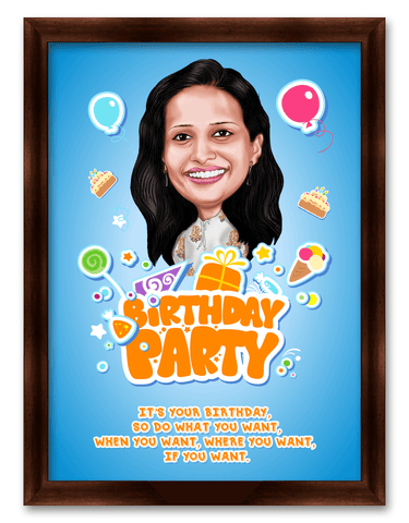 All about your birthday Framed Caricature