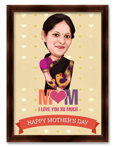 Mom I Love You So Much Framed Caricature