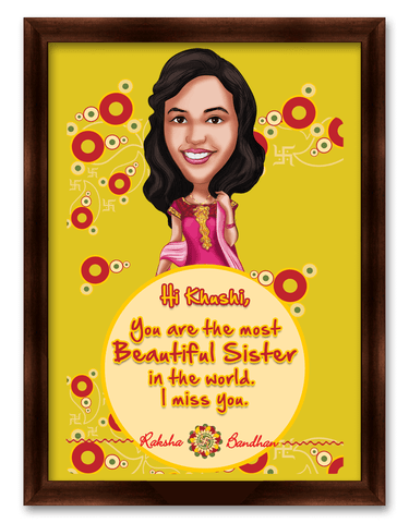 Most Beautiful Sister in the World Framed Caricature