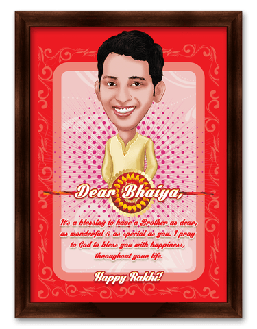 Special Brother, Wonderful Brother, Personalized Caricature Rakhi Gift