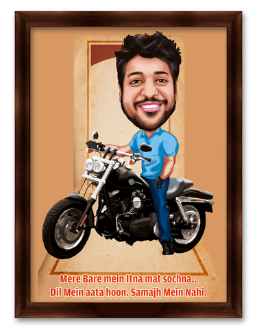 Friend on Bullet, Personalized Birthday Caricature Gift for him