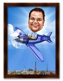 Aviation enthusiasts Personalized Birthday Caricature Gift for friend