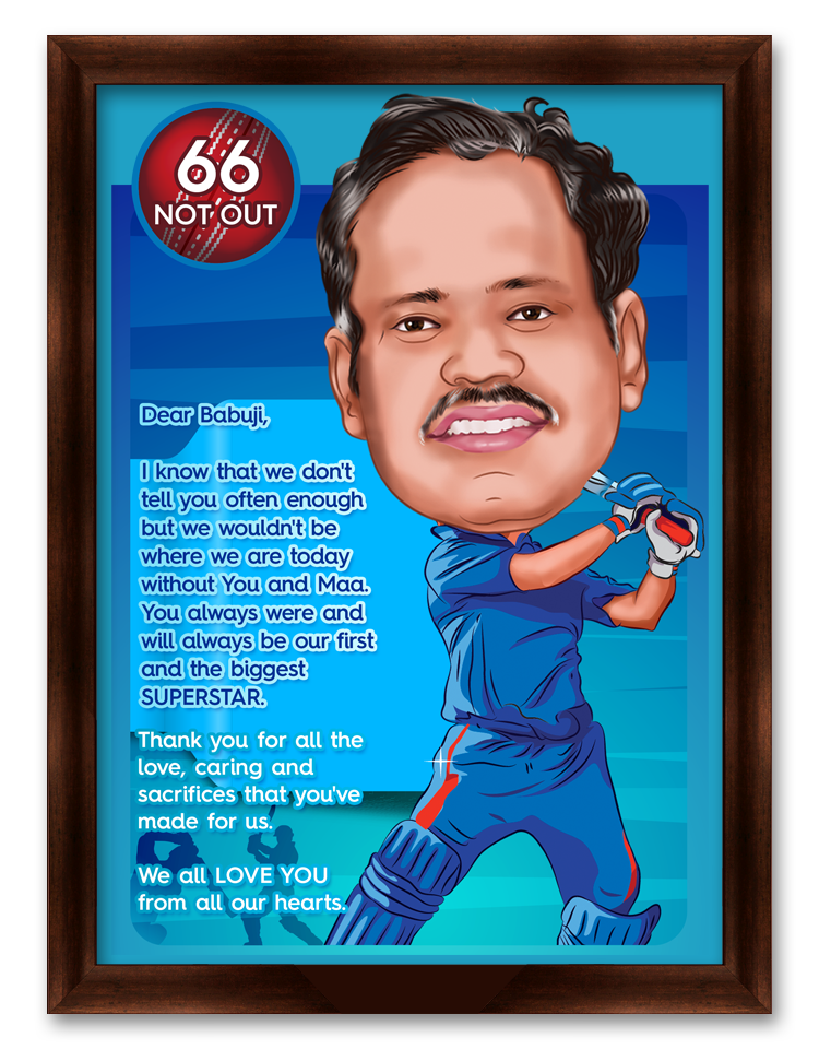 The World's Best Cricketer Dad, Personalized Caricature Gift for Papa