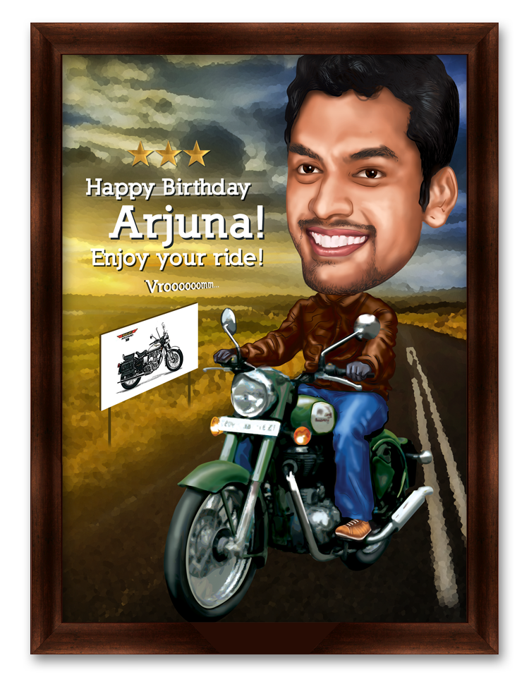 Enjoy Your Ride! Personalized Birthday Caricature Gift for Boyfriend