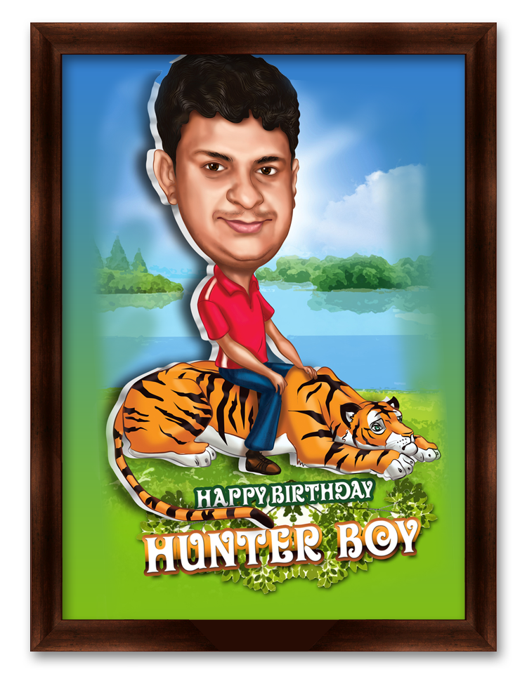 Happy Birthday Hunter Boy, Personalized Caricature Gift for friend