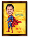 Superman Friend, Personalized Birthday Caricature Gift for him