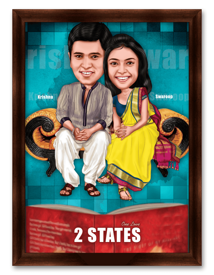 2 States Framed Caricature