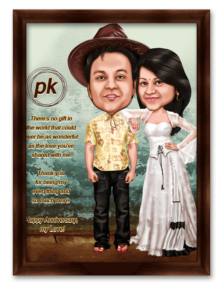 PK Movie Style Framed Caricature