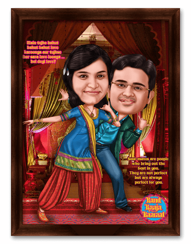Band Baaja Baaraat Movie Style Framed Caricature