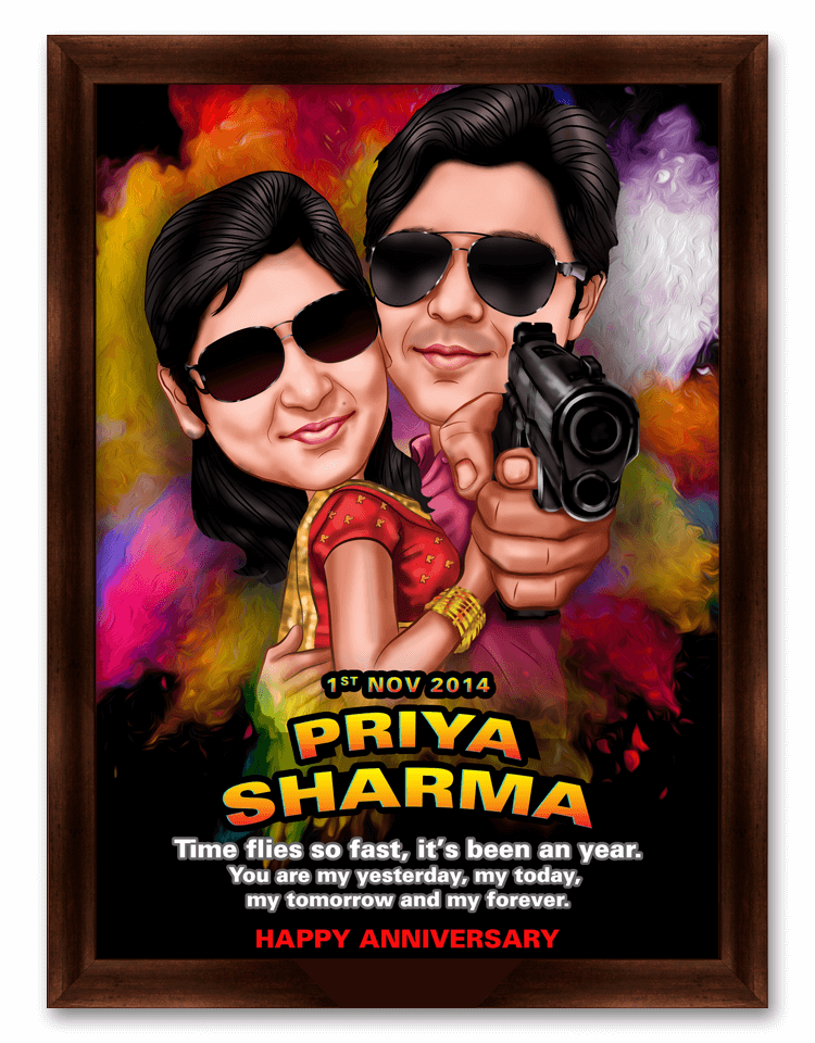 Rowdy Rathore Movie Style Framed Caricature