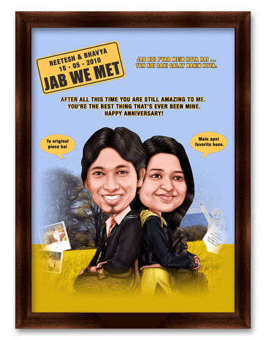 Jab We Met Movie Style Framed Caricature