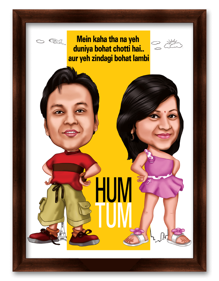 Hum Tum Movie Style Caricature Gift for Couple