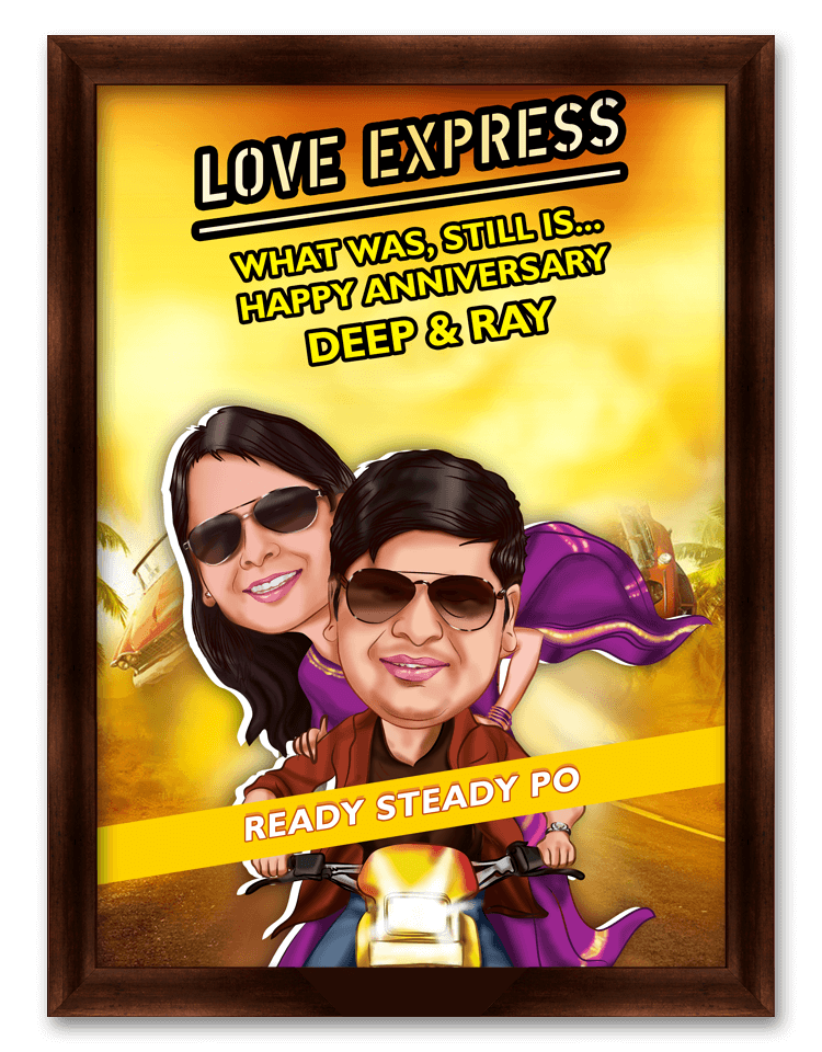 Love Express Framed Caricature