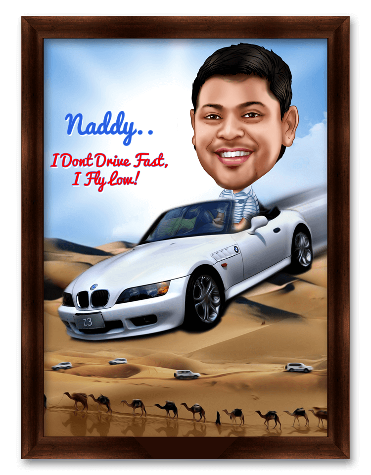 Stuntman! Caricature Gift for Racer Friend