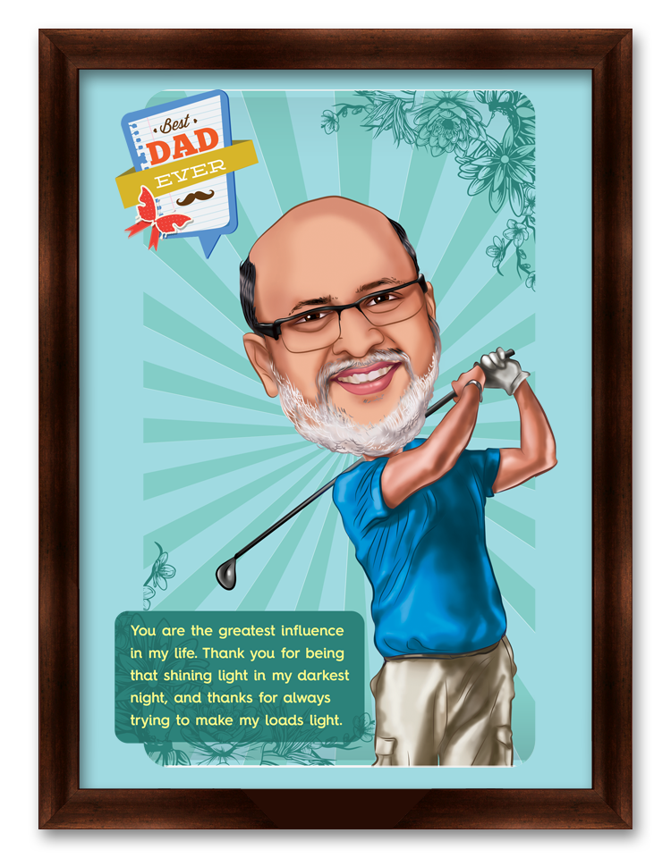 Lucky to Have You Dad, Personalized Caricature Gift for Father's Day