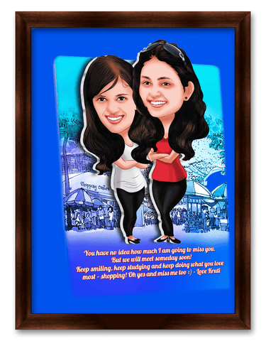 Friendship Day Girls Miss You Caricature Gift