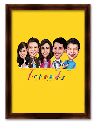 Friendship Day SIX F.R.I.E.N.D.S Caricature Gift