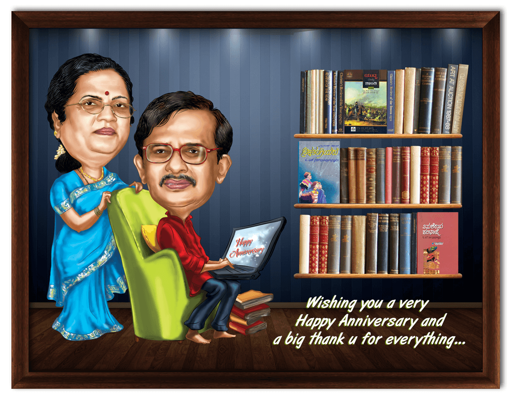 Gift For Parents 35th Wedding Anniversary : ... 35th wedding anniversary, personalized caricature gift for parents