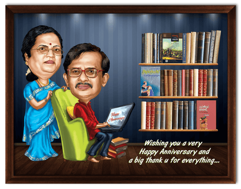 35th wedding anniversary, personalized caricature gift for parents