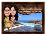 Mothers Day Mom and Daughter on Beach Caricature Gift
