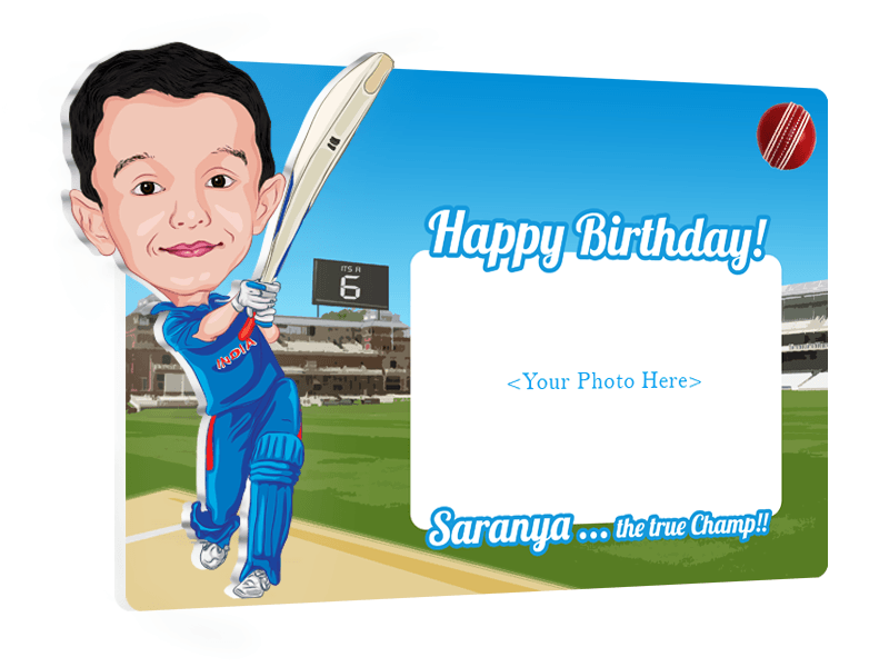 Happy Birthday Champ, 3D Kid Caricature Photo Frame