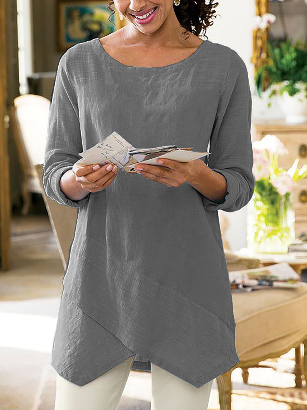 Asymmetrical Hem Casual 3/4 Sleeve Plus Size Shirts