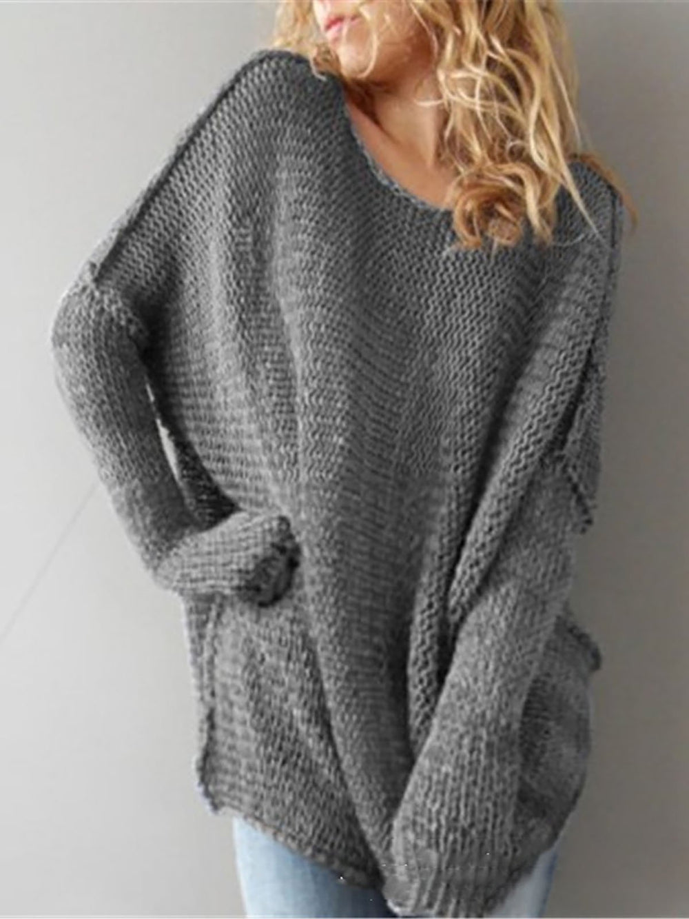 Solid Knitted Crew Neck Casual Sweater