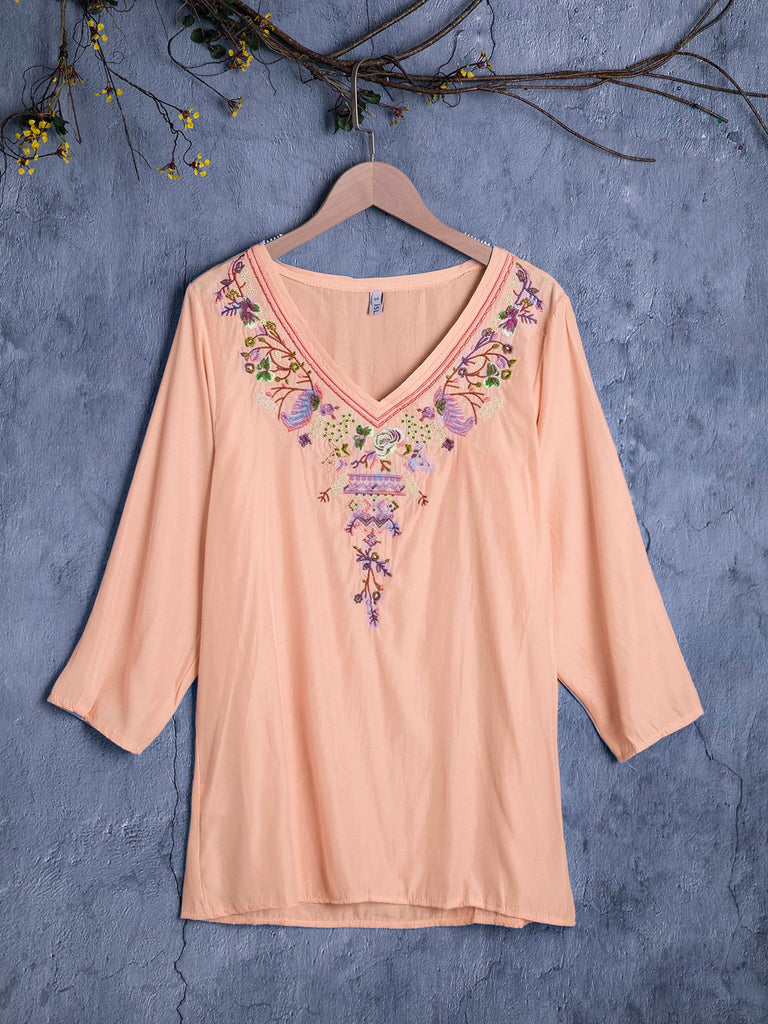 Boho 3/4 Sleeve V Neck Cotton Blouse