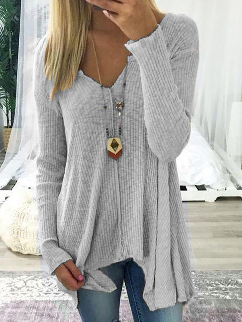 V neck Solid Casual Long Sleeve Knitted Top