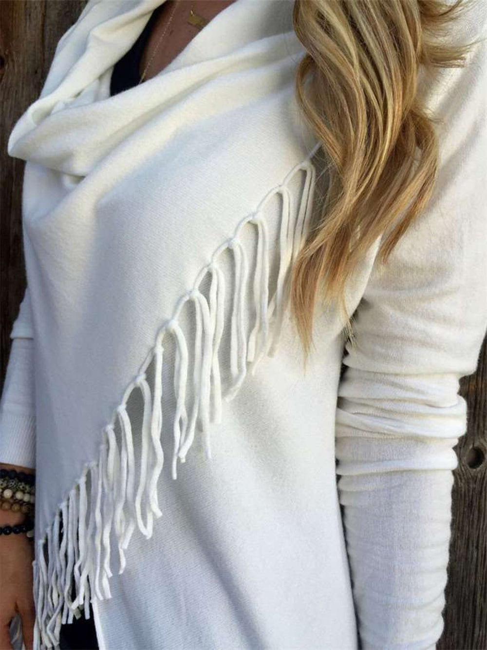 Long Sleeve Solid Asymmetrical Fringed Sweater