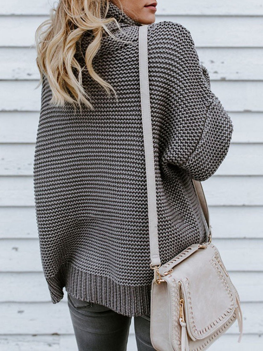 Turtle Neck Knitted Solid Long Sleeve Sweater