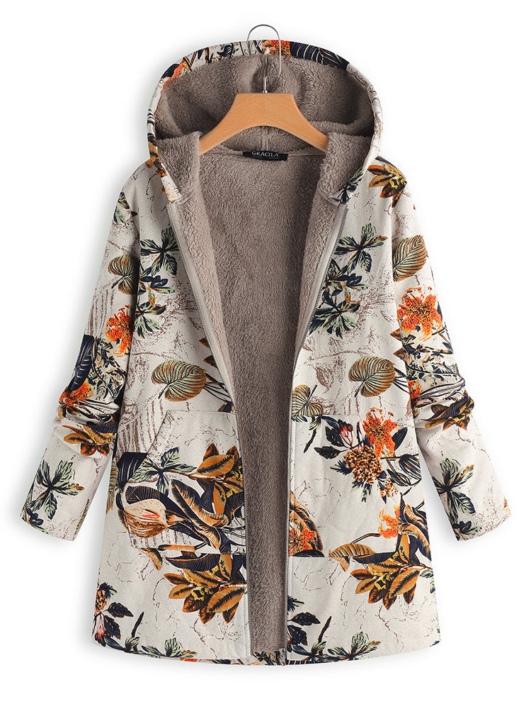 Floral Plus Size Long Sleeve Printed Casual Coat
