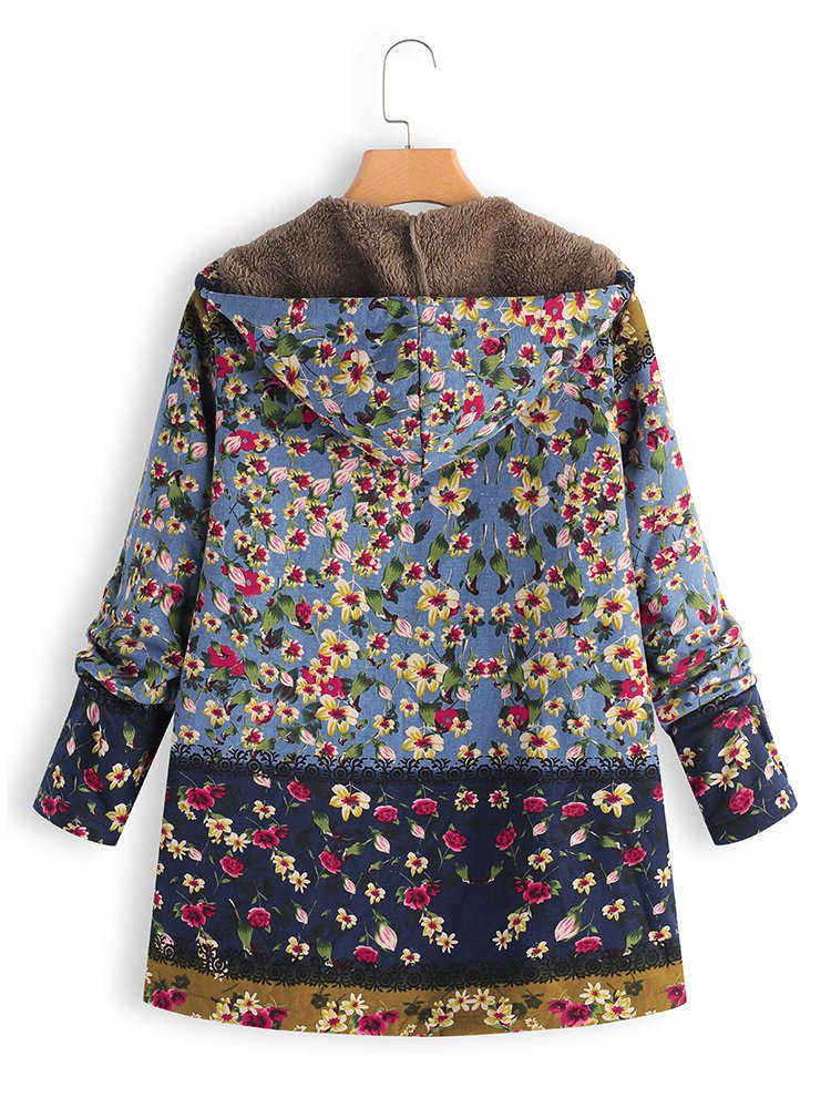 Long Sleeve Casual Floral Printed Hoodie Coat