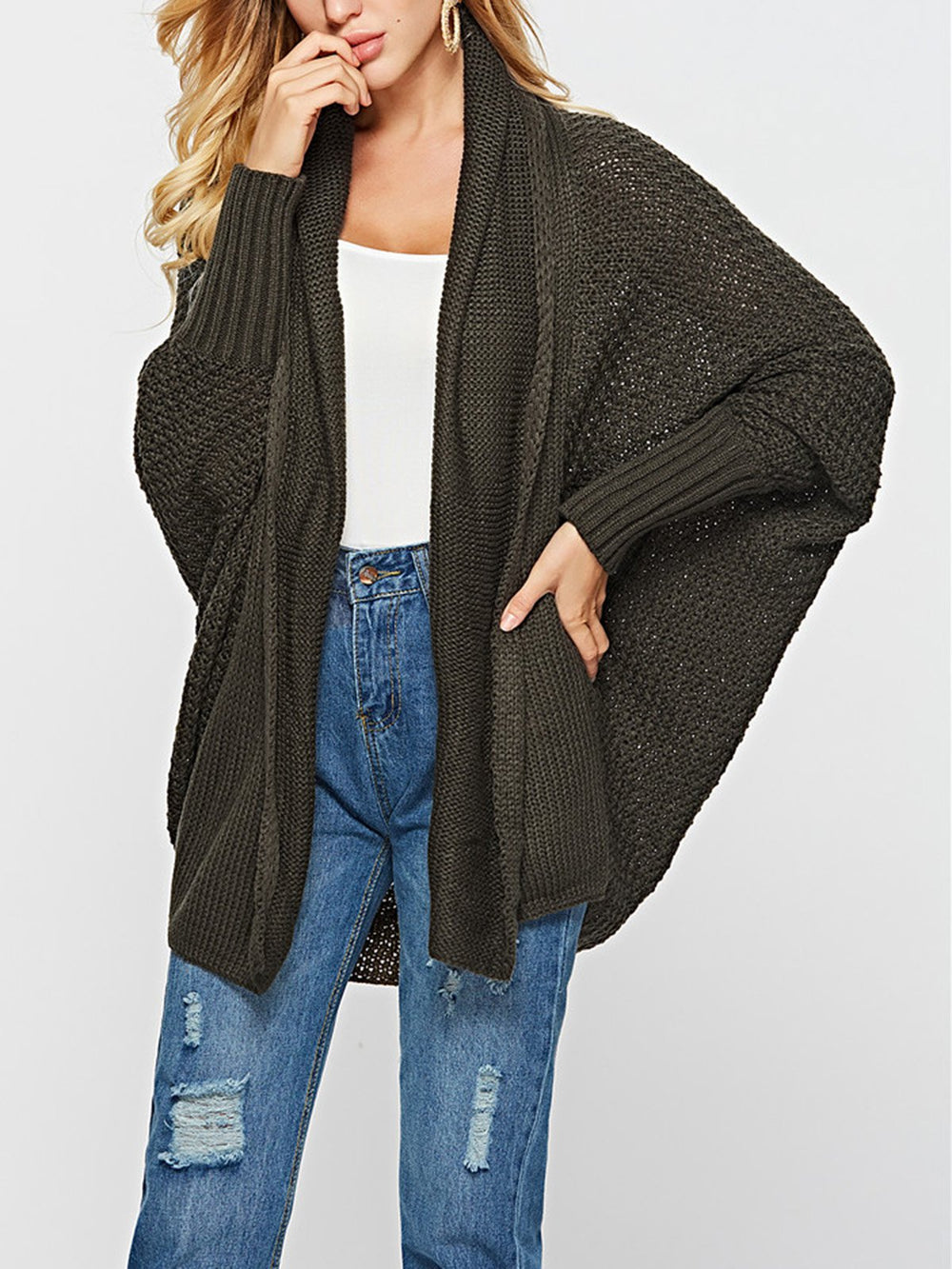 Casual Solid Knitted Cardigan
