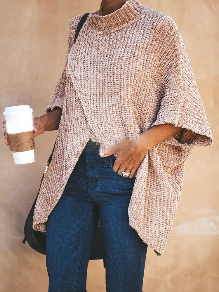 Khaki Turtleneck Casual Knitted Solid Sweater