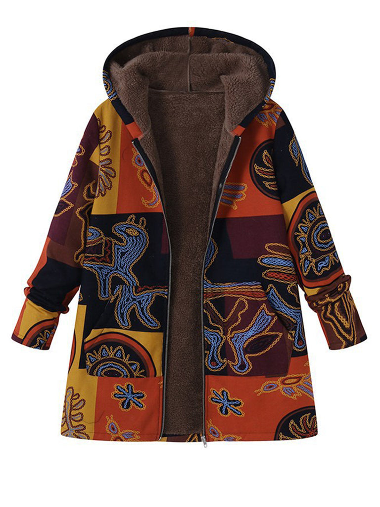 Casual Hoodie Printed Long Sleeve Plus Size Coat