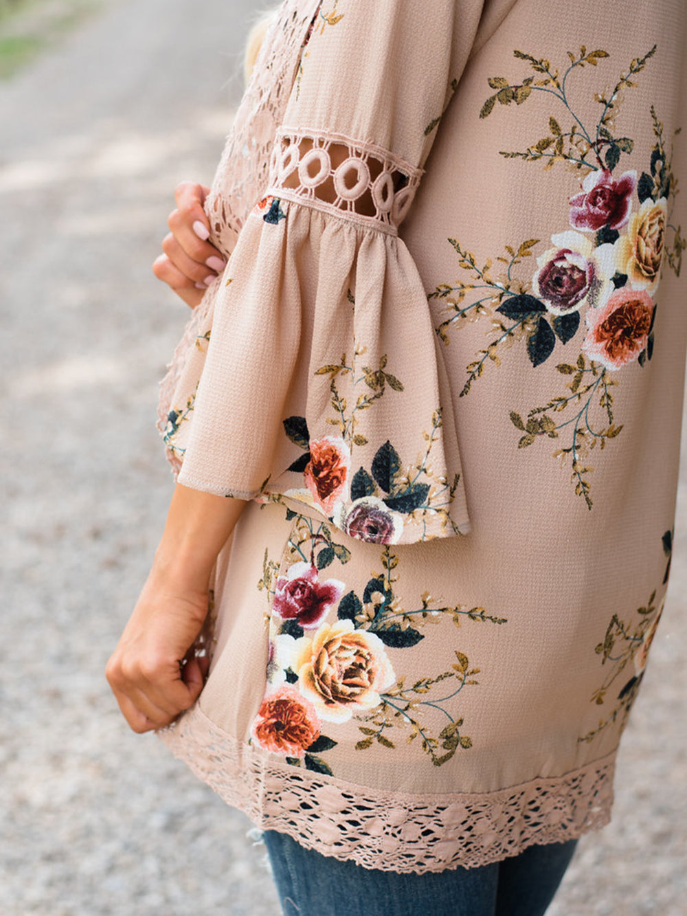 Floral-print Lace Paneled Coat