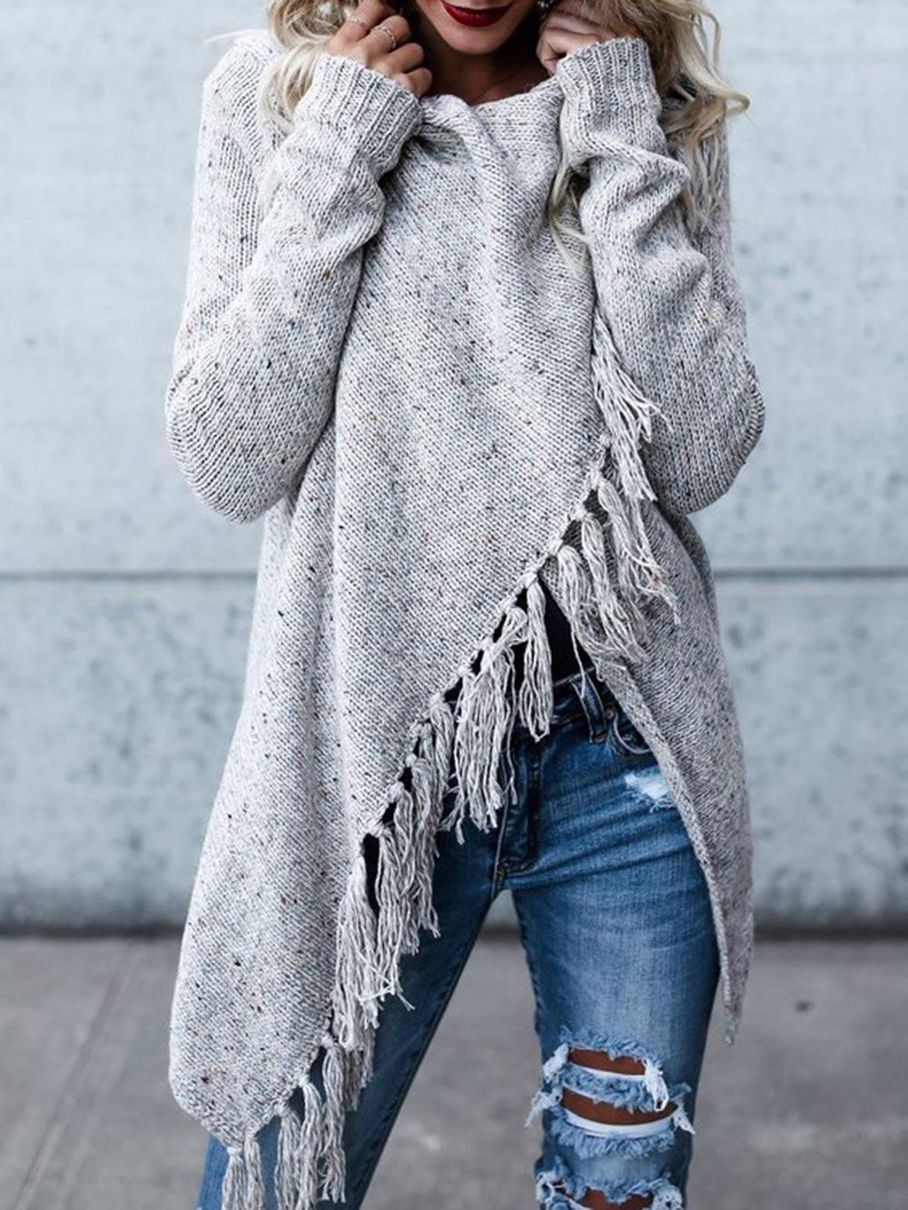 Long Sleeve Casual Asymmetrical Cowl Neck Sweater